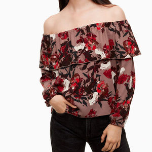 Aritzia Wilfred Morel Floral Off Shoulder Blouse